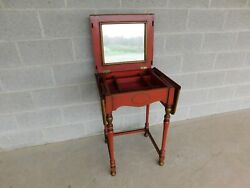 Vintage Chinoiserie Paint Decorated Vanity With Lift Center Mirror