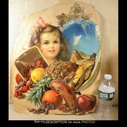 Victorian Large 15w X 19-1/2h German Die Cut Young Girl With Fruit From Basket