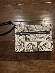 Coach Marvel 3578 Black And Whiye Comic Strip Gallery Pouch Nwt