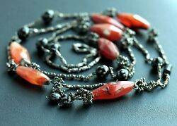 Rare Victorian Sterling Necklace Antique Faceted Red Carnelian Beads Black Coral