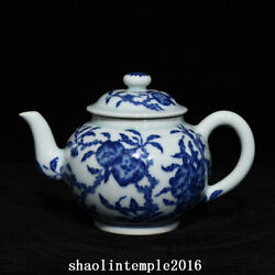 Rare China The Qing Dynasty Qianlong Blue And White Peach Pattern Teapot