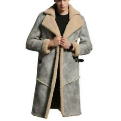 Occident Mens Winter Overknee Real Sheep Leather Coats Cashmere Lined Warm New L