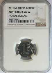 Russia 2011-mmd Nickel Plated Steel 1 Rouble Partial Collar Error, Ngc Ms-62.