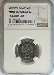 Russia 2014-mmd Nickel Plated Steel 2 Roubles Rotated Dies Mint Error, Ngc Ms-62
