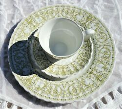 J And G Meakin England English Ironstone Classic Teacup And Saucer Dinner Plate Trio