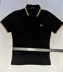 Fred Perry Polo Shirt M12 Black Champagne Champagne Size 36 Small Made in UK $35.00