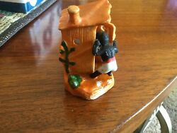 Vintage Figurine Man amp; Child Outhouse quot;HURRYquot; Bisque Japan Black Americana