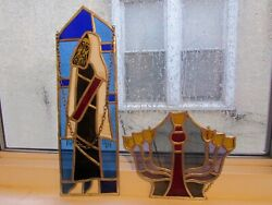 Judaica Stained Glass Rabbi And Menorah Pair Lovely