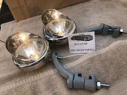 Pair 6 Volt Small Vintage Style Fog Lights / Visors And Gray Brackets