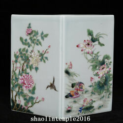 China Qing Dynasty Pastel Flower And Bird Pattern Diamond Pen Container