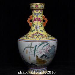 China Qing Dynasty Pastel Flowers And Plants Chicken Pattern Binaural Bottle