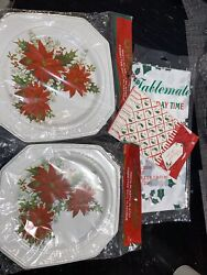 """Vintage Lot Of Chyna-plates Plastic Christmas 9 1/4"""" Diameter Table Cover"""