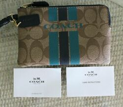 NWT Coach Turquoise Navy Blue Signature Browns Corner Zip Wristlet 6 X 4quot; $35.00