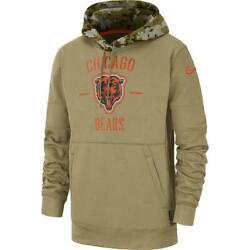 Authentic Nike Chicago Bears Men's 2019 Nfl Salute To Service Hoodie Tan New