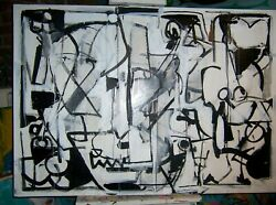 Original Modern Abstract Painting Black And White And039island Lifeand039and039 By Nyc Artist