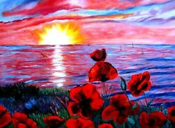 Red Poppies Sunset Oil Painting Romantic Seascape Flowers Impressionism Impasto