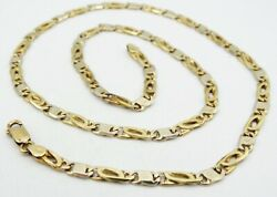 14k Two Tone Gold Figure 8 Nail Head Link Chain Necklace 20.54mm 23.5g S1246