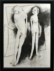 Anne Hall The Couple - Original Charcoal Drawing Modern Heide Signed + Framed