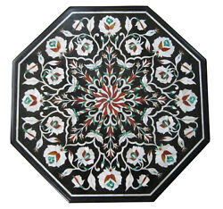 24x24 Marble Center Coffee Table Top Mother Of Pearl Marquetry Inlay Decor