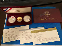 1983 1984 Olympics 3 Coin Gold And Silver Commemorative Set -proof Ogp