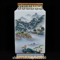 11 China Antique Qing Dynasty Pastel Landscape Poetry Square Flat Bottle