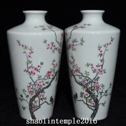 A Pair China The Qing Dynasty Pastel Flower And Bird Pattern Pulm Vase