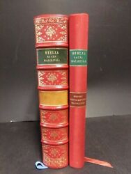 1985 Gutenberg Bible/facsimile/printed In Paris/vol 1 Only- Red Leather Binding