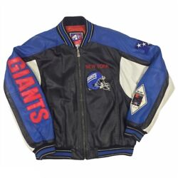 Vintage 90s-00s New York Giants Leather Bomber Jacket By G-iii Carl Banks Sz L