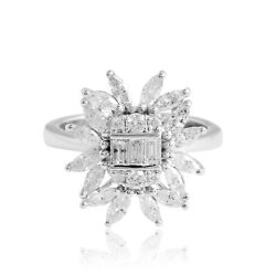 Certified Natural 1.35 Ct Baguette Diamond Fine Cocktail Ring 18k White Gold
