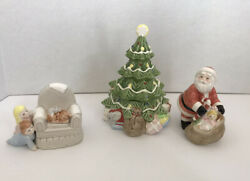 """Vintage 1981 Fitz And Floyd Japan 4 Pc """"spying On Santa"""" Figurines And Dish"""