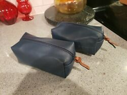 "NEW 2 COLE HAAN cosmetic dopp bags 7.5""x3""x3.5"" Blue AMERICAN AIRLINES z $9.95"
