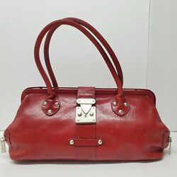 Hobo International Red Leather Satchel Purse Handbag Doctor Framed $42.49