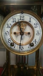 Gorgeous Antique Crystal Regulator Brass Jeweled Outer Escapement Ansonia
