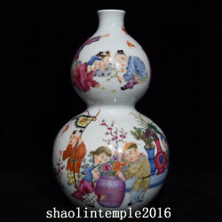 10.8 China Antique Qing Dynasty Yongzheng Pastel Baby Play Gourd Bottle