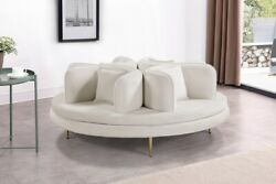 Meridian Circlet Contemporary Velvet Roundabout Sofa. Choice Of 5 Colors