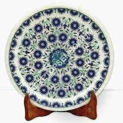 7 Marble White Collectible Plate Lapis Lazuli Inlay Marquetery Fine Floral Arts