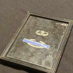 Original Framed Wwii Sterling Infantry Combat Badge And Jump Wings