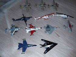 Lot Of 12 Airplanes And Helicopters Toy Hard Plastic And Cast Iron.