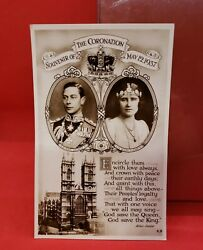 Vintage Coronation Of King George Vi And Queen Elizabeth Real Photo Postcard