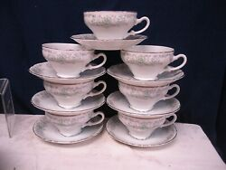 Norleans China Silver Trim Theresa Pattern 7 Sets Cup Saucers Coffee Tea Nice