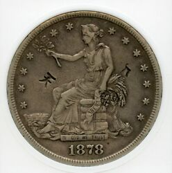 1878-s Trade Silver Dollar Chopmarked Graded Anacs Xf-40 Details