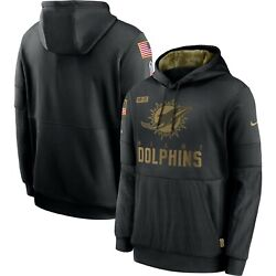 Authentic Nike Miami Dolphins Men's 2020 Nfl Salute To Service Hoodie Black New