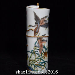 6.1 China Antique The Qing Dynasty Pastel Reed Goose Pattern Incense Cone