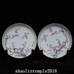 A Pair China Antique The Qing Dynasty Pastel Bamboo Plum Pattern Disc
