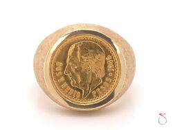 Mens Gold 2.50 Mexican Peso Coin Pinky Ring 14k And 22k Yellow Gold. Size 9