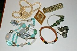 R50, Collection Vintage Costume Jewelry,native Amer,signed,sets,lead Glass Etc