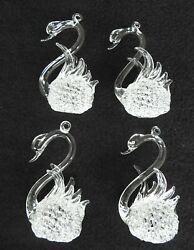 Four Hand Spun Blown Glass 3 1/2 Clear Swan Hanging Christmas Ornaments
