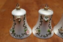 Vintage Bell Shaped Applied Flowers Stenciled Christmas Ornaments X5 W Germany