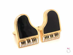 Vintage Black And White Enamel Piano Cufflinks In 14k Yellow Gold