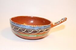 Vintage Handmade Red Clay Pottery Bowl With Handle - Unique Design